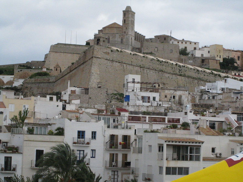 Ibiza Town, Spain - Old Town (walled city) above with cathedral