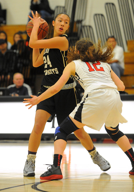 . STUDIO CITY - 02/16/13 - (Photo: Scott Varley, Los Angeles Newspaper Group)  CIF Southern Section Division IV-AA second-round girls basketball playoff game. Bishop Montgomery vs Harvard-Westlake. Bishop Montgomery won 57-42. BM\'s Sophia Song is guarded by Zoe Bohn.