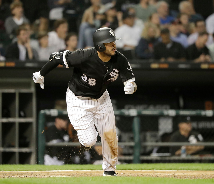 . Chicago White Sox\'s Omar Narvaez watches his RBI double off Cleveland Indians starting pitcher Adam Plutko during the fifth inning of a baseball game Tuesday, June 12, 2018, in Chicago. (AP Photo/Charles Rex Arbogast)