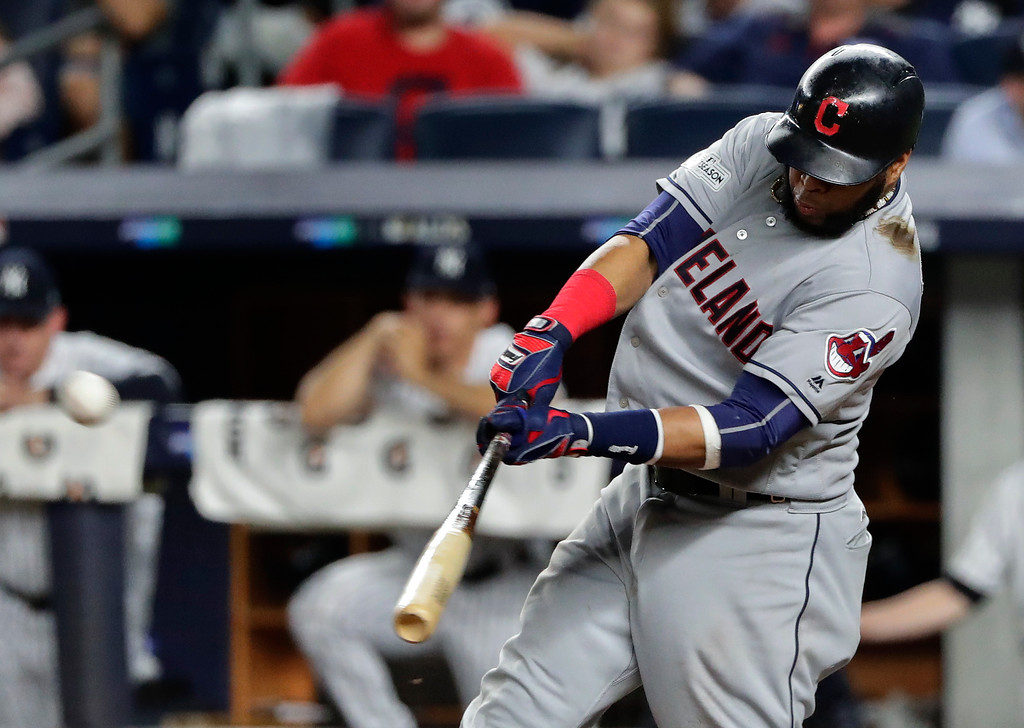. Cleveland Indians\' Carlos Santana (41) connects for a two-run home run against the New York Yankees during the fourth inning in Game 4 of baseball\'s American League Division Series, Monday, Oct. 9, 2017, in New York. (AP Photo/Frank Franklin II)