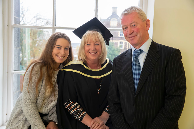 01/11/2019. Waterford Institute of Technology (WIT) Conferring Ceremonies. Pictured are Orla Bolger-Prendergast with her daughter Aisling and husband John. Picture: Patrick Browne