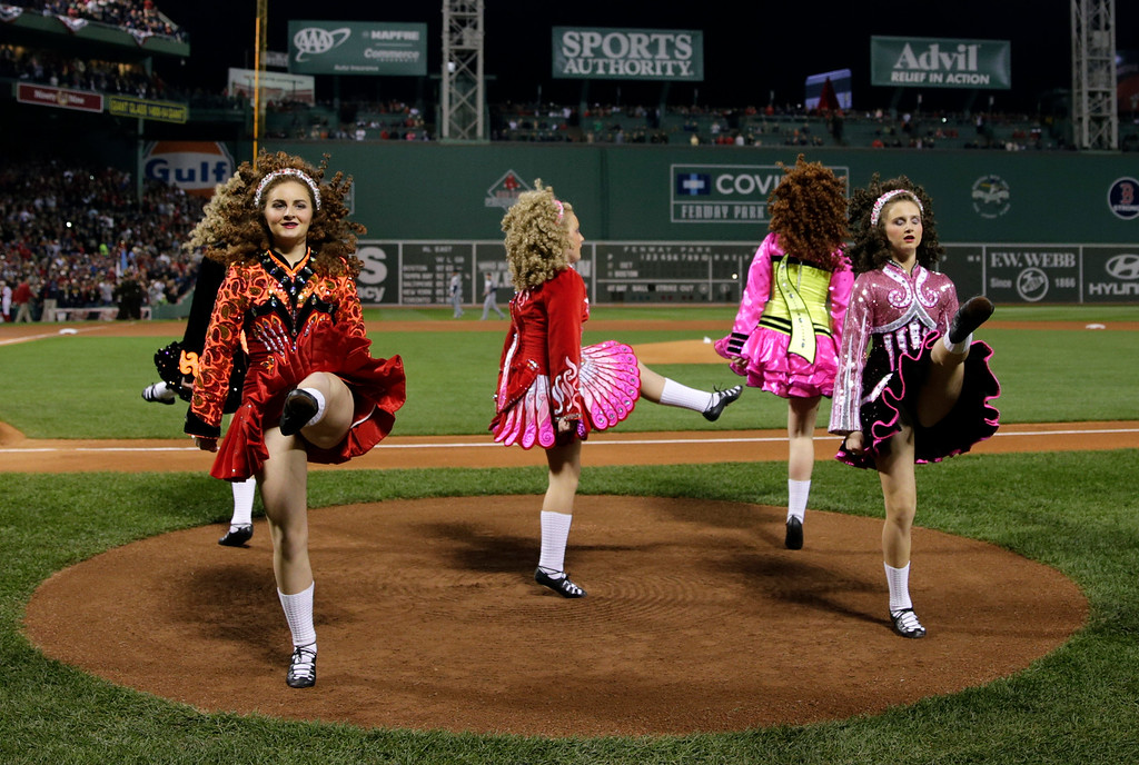 . Dancers from the Forbes School of Irish Dance perform before Game 6 of the American League baseball championship series between the Boston Red Sox and the Detroit Tigers on Saturday, Oct. 19, 2013, at Fenway Park in Boston. (AP Photo/Charles Krupa)