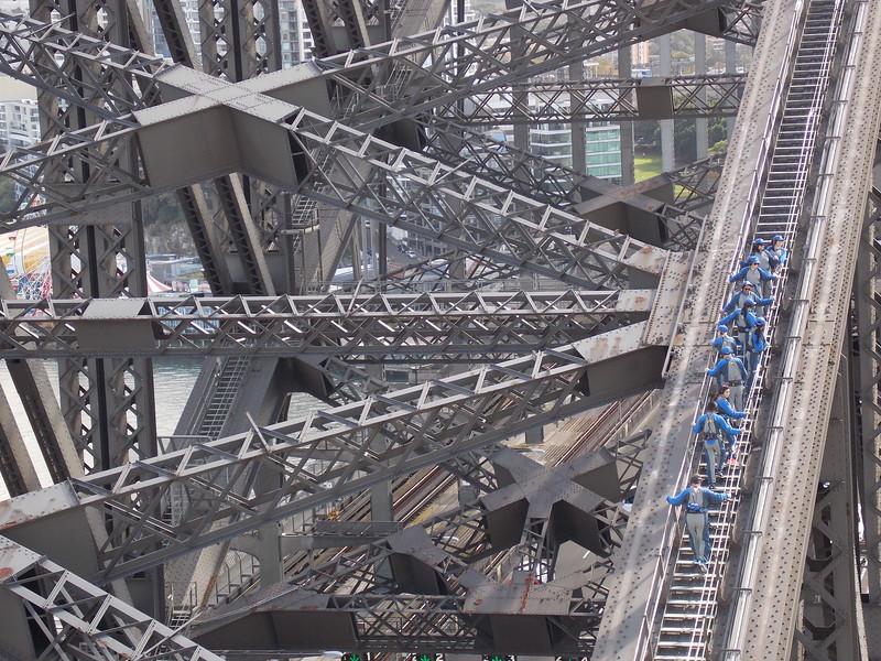 Tourists partaking in the Bridge Climb Tour.
