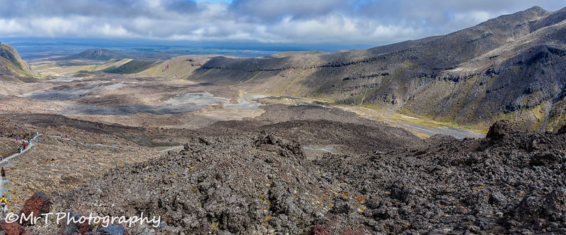 Looking back at Mangatepopo Valley from the Devil's Staircase Tongariro Crossing