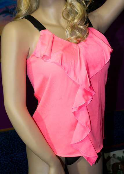 Neon Pink Top with Black Straps Size M  $15