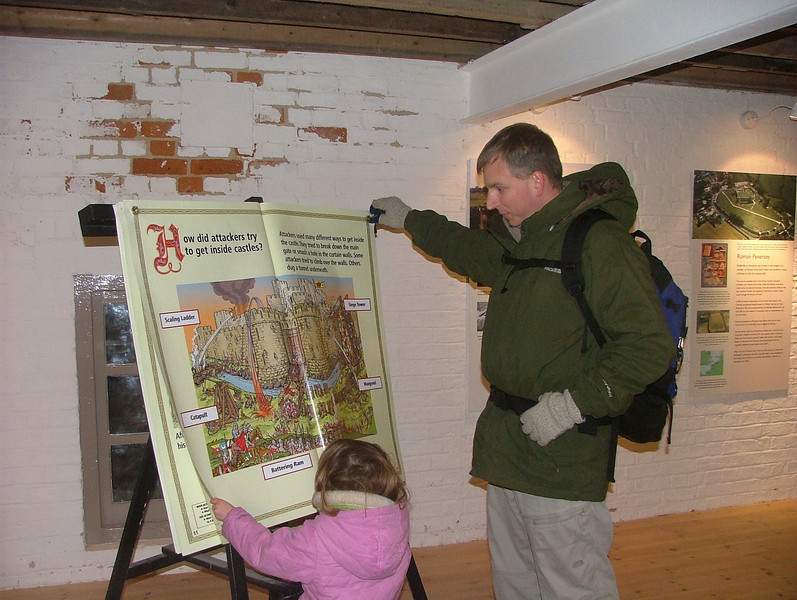 Sam reads about Castles at Pevensey