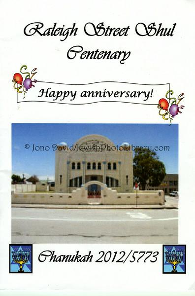 SOUTH AFRICA, Eastern Cape, Port Elizabeth. Raleigh Street Shul Centenary (booklet) (3.2013)