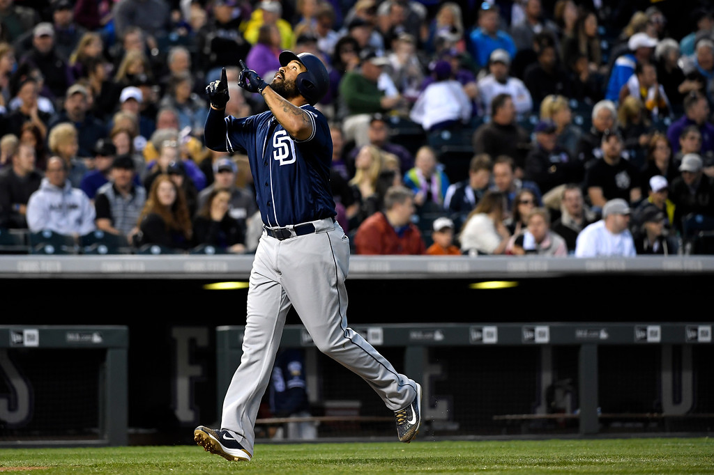 . Matt Kemp (27) of the San Diego Padres continues his great hitting after smashing a 3 run homer against the Colorado Rockies at Coors Field. April 09, 2016 in Denver, CO. (Photo By Joe Amon/The Denver Post)