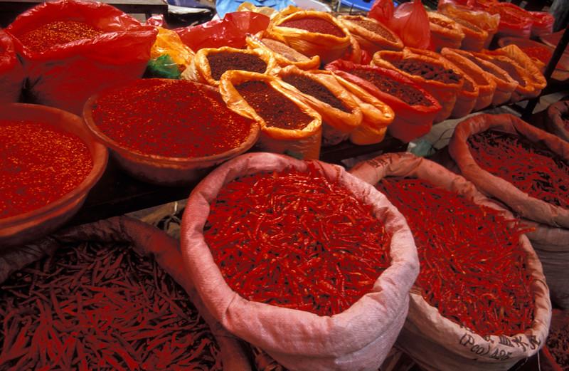 Chili peppers at Lijiang Spice Market, Yunnan