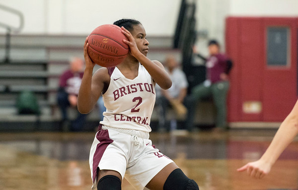 01/10/20 Wesley Bunnell | StaffrrThe Bristol Central girls basketball team was defeated at home on Friday night by Berlin. BC's Damani Hough (2) looks to pass.