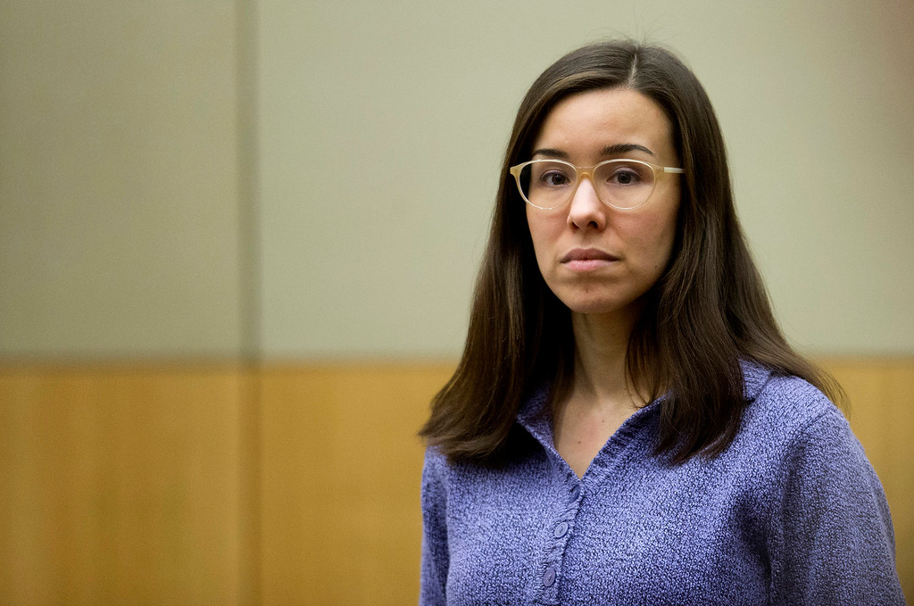 . Jodi Arias stands for the jury during her sentencing retrial at Maricopa County Superior Court, Thursday, Feb 12, 2015, in Phoenix. Arias was convicted of first-degree murder in May 2013 in the 2008 killing of former boyfriend Travis Alexander. However, jurors deadlocked on her punishment. (AP Photo/The Arizona Republic, Cheryl Evans, Pool)