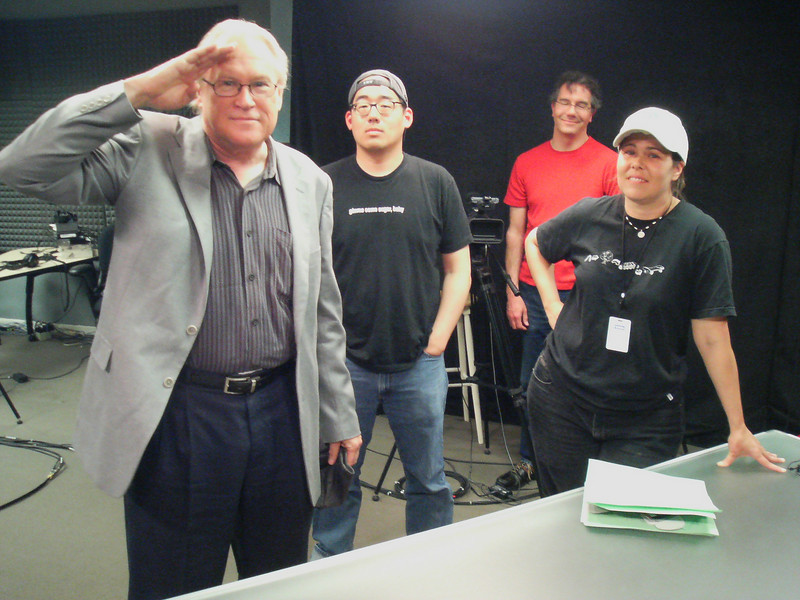 Cranky Geeks unite  Dvorak, Chang, Ross, and Savage. The cranky geek team post show.