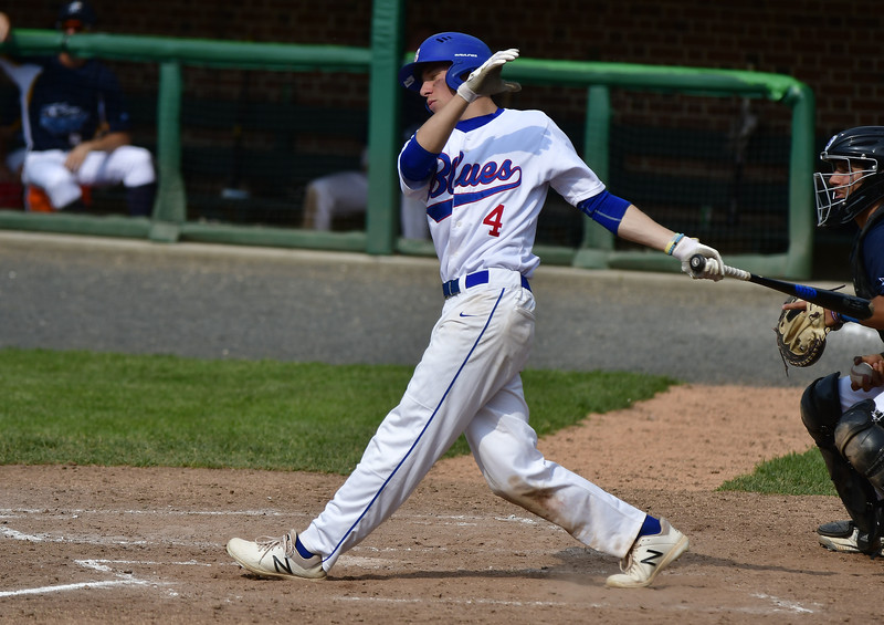 6/1/2019 Mike Orazzi | Staff Bristol Blues' Nolan Cloutier (4) at the plate Saturday.