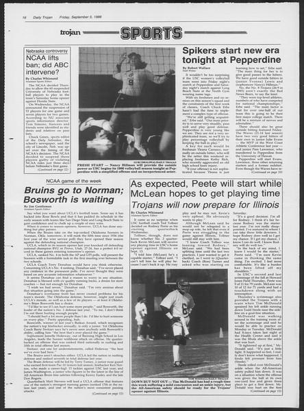 Daily Trojan, Vol. 102, No. 4, September 05, 1986