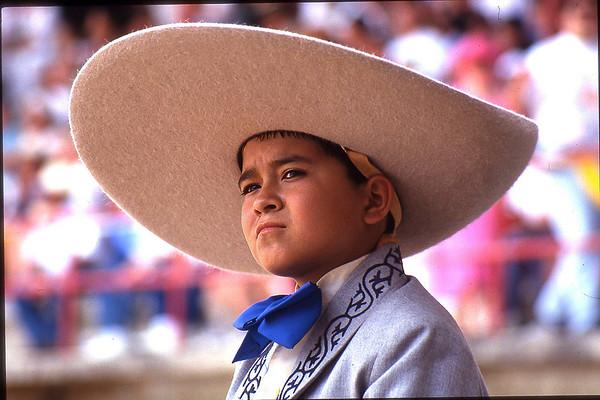 Young Mexican cowboy/Vaquero at a Mexican Rodeo/Charro.
