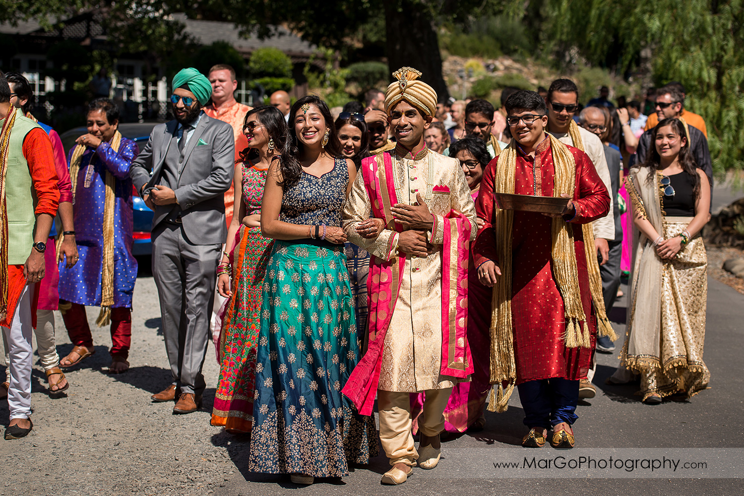 begining of Indian wedding Baraat Swagat at Elliston Vineyards in Sunol