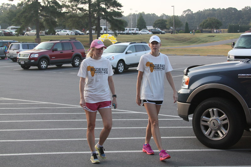 They couldn't wait to put on their race shirts