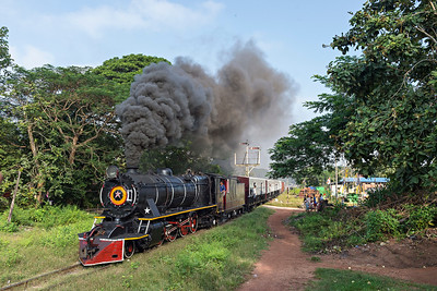 Vulcan YD 2-8-2 No 967 leaves Mokpalin with Train No 85