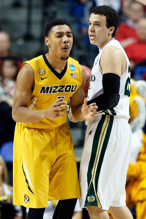 . LEXINGTON, KY - MARCH 21:  Phil Pressey #1 of the Missouri Tigers reacts after getting called for a foul against Dorian Green #22 of the Colorado State Rams during the second round of the 2013 NCAA Men\'s Basketball Tournament at the Rupp Arena on March 21, 2013 in Lexington, Kentucky.  (Photo by Kevin C. Cox/Getty Images)