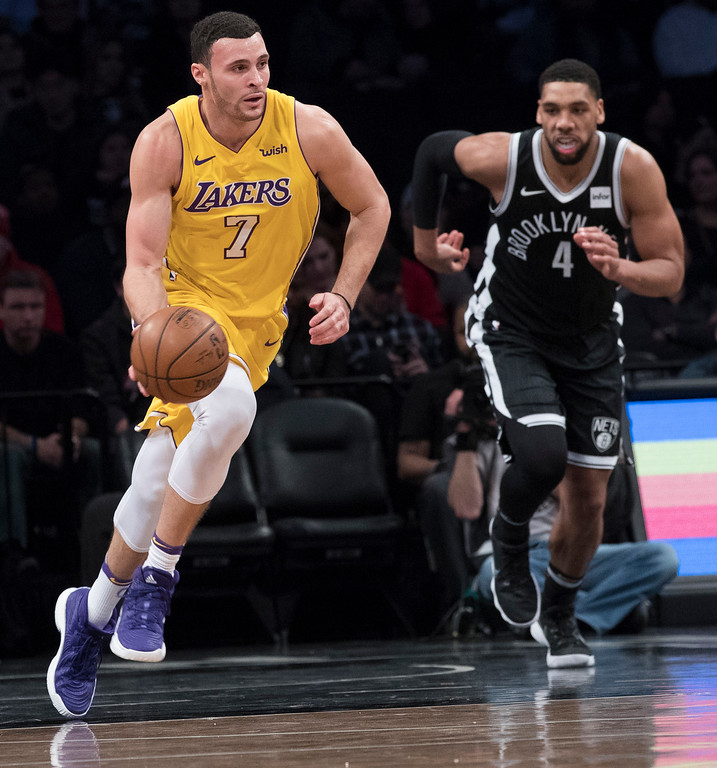 . Los Angeles Lakers forward Larry Nance Jr. goes to the Cleveland Cavaliers. (AP Photo/Mary Altaffer)
