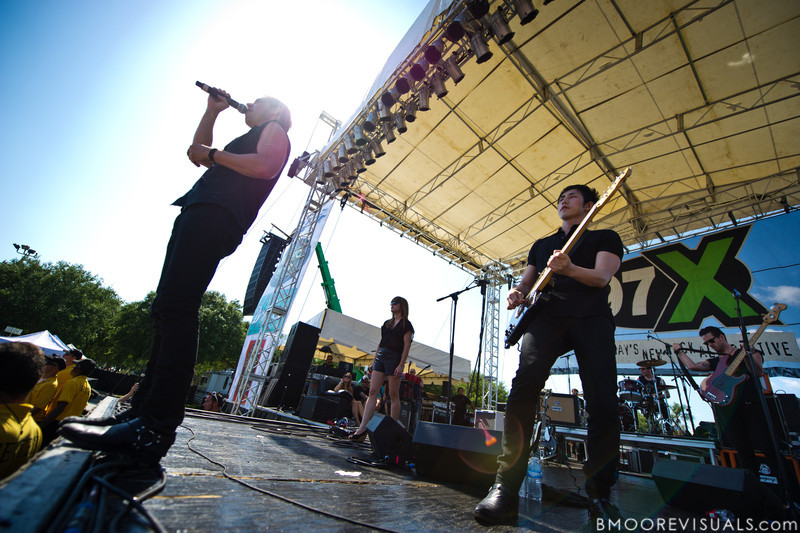 Mikel Jollett, Anna Bulbrook, Steven Chen, Daren Taylor, and Noah Harmon of The Airborne Toxic Event perform on May 28, 2011 at Vinoy Park in St. Petersburg, Florida