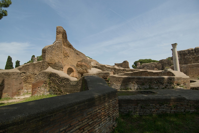 Ruins of old structures in Ostia Antica, Italy
