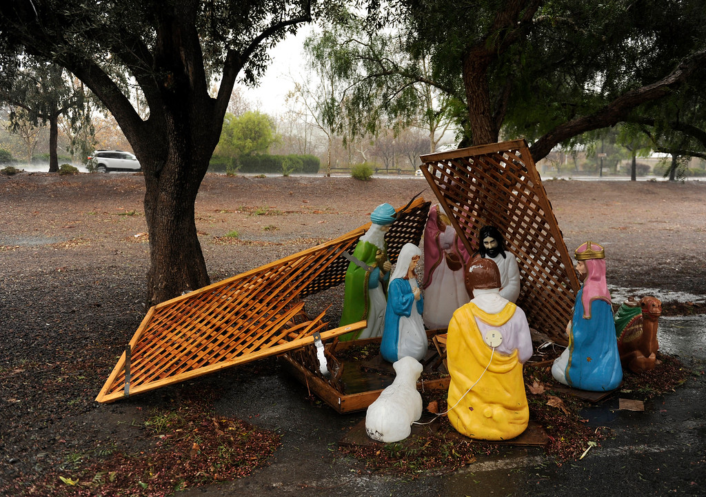 . A nativity scene is in disarray under trees in downtown Clayton, Calif., Thursday, Dec. 11, 2014. (Susan Tripp Pollard/Bay Area News Group)