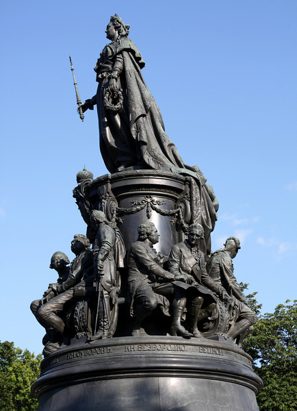 Statue of Catherine the Great in Pl Ostrovskogo (park) on Nevsky Prospekt (St Petersburg's main avenue).  The statue was unveiled in 1873.  AT the base of the statue, Catherine the Great is surrounded by smaller statues of the most prominent people of her reign;  politicians and poets, military men and courtiers.