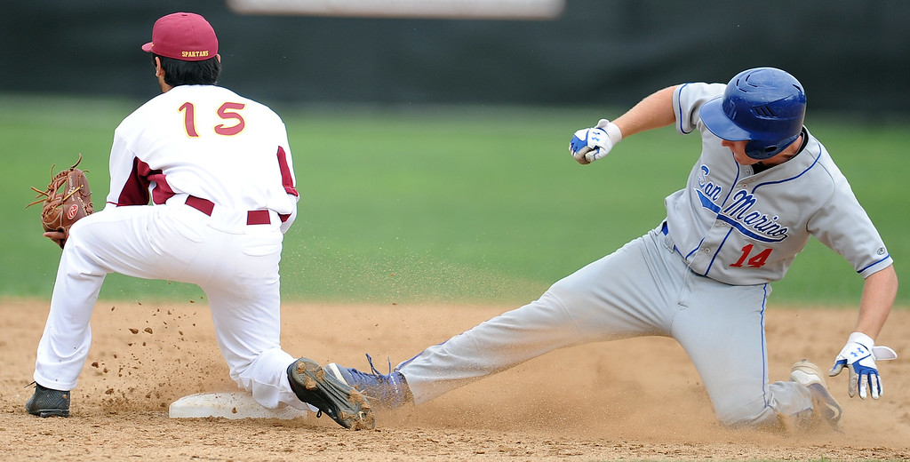 . San Marino\'s Matt Wofford (14) slides into second base after hitting a double as La Canada second baseman Jacob Yonan (15) waits for the ball in the second inning of a prep baseball game at La Canada High School on Wednesday, March 8, 2013 in La Canada, Calif. La Canada won 3-2.  (Keith Birmingham Pasadena Star-News)