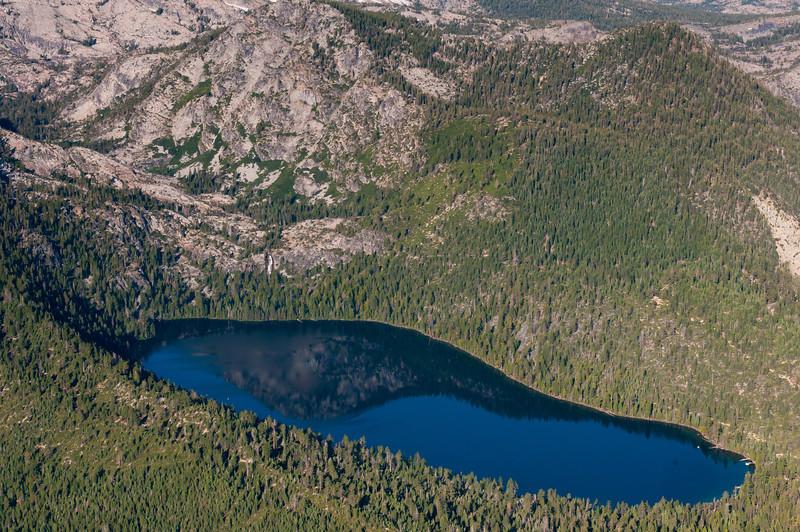Hot air balloon ride over Sierra Mountains near Lake Tahoe, Nevada