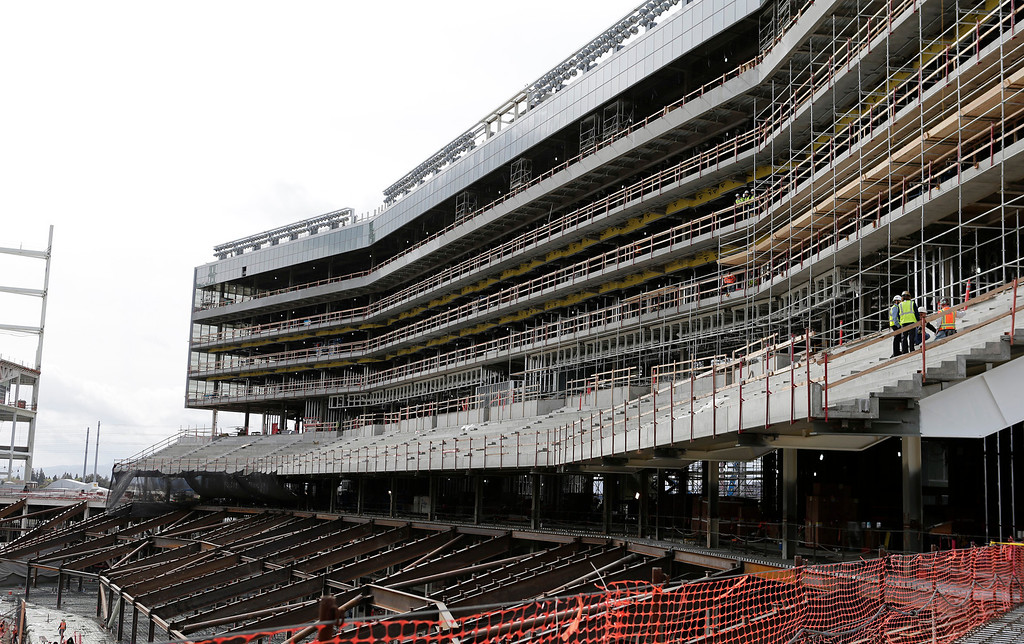 . Construction of the luxury boxes continues at the new 49ers stadium in Santa Clara, Calif. on Wednesday, March 6, 2013. The Super Bowl Host Committee is competing against Miami for the bragging rights of hosting the 50th Super Bowl in 2016.  (Gary Reyes/ Staff)