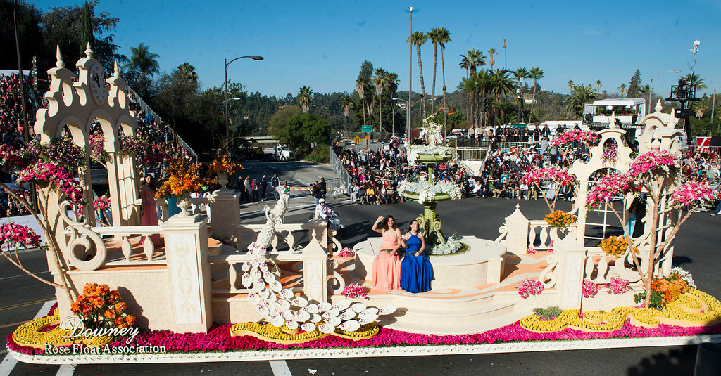 ". Downey Rose Float Association ""The Glass Slipper\"" during 2014 Rose Parade in Pasadena, Calif. on January 1, 2014. (Staff photo by Leo Jarzomb/ Pasadena Star-News)"