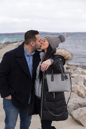 Surprise Engagement Petoskey Michigan breakwall Megan + Brandon
