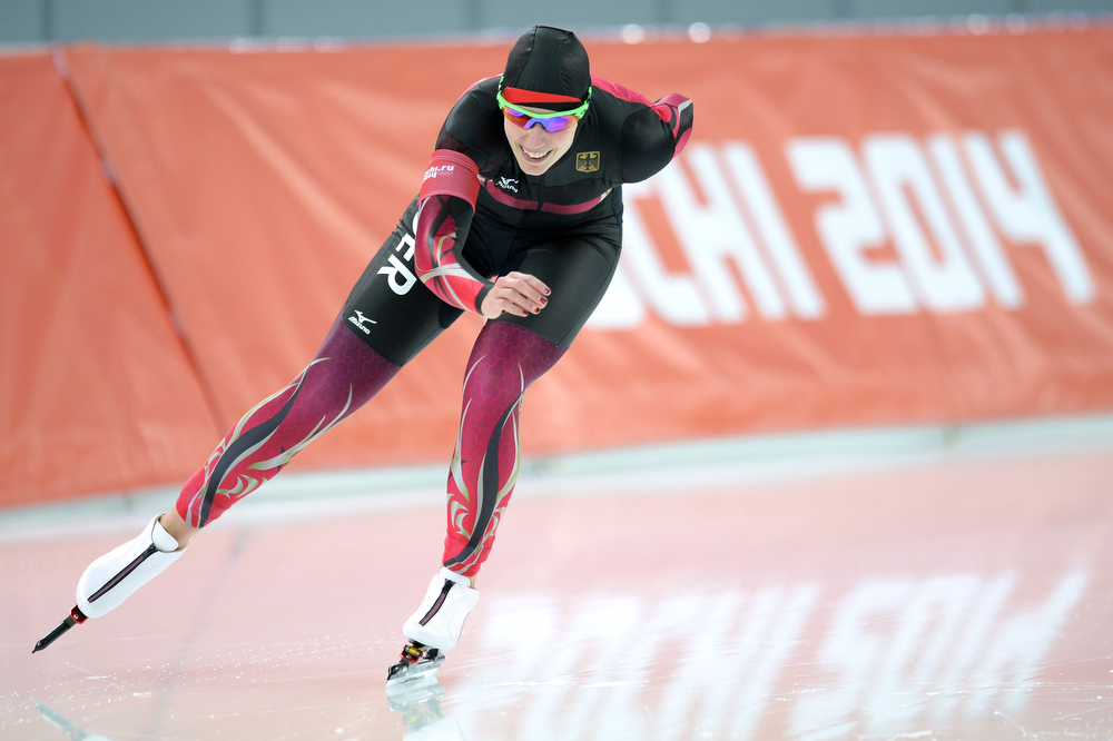 . Germany\'s Bente Kraus competes in the Women\'s Speed Skating 5000 m at the Adler Arena during the Sochi Winter Olympics on February 19, 2014.  (JUNG YEON-JE/AFP/Getty Images)