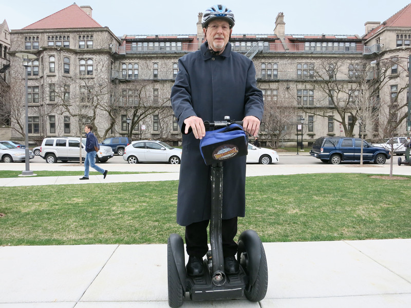 4c-NK on Segway at 57th St, UC. I'm looking north, past the Regenstein Library, at my old office building.