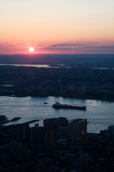 View of Hudson River from the Empire State Building at sunset, NYC, USA