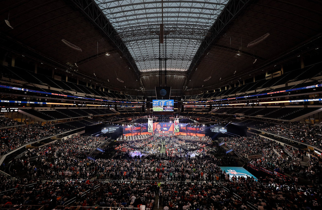 . In this general overall view of AT&T Stadium, Georgia\'s Roquan Smith is shown on the video screen after being selected by the Chicago Bears during the first round of the NFL football draft, Thursday, April 26, 2018, in Arlington, Texas. (AP Photo/David J. Phillip)