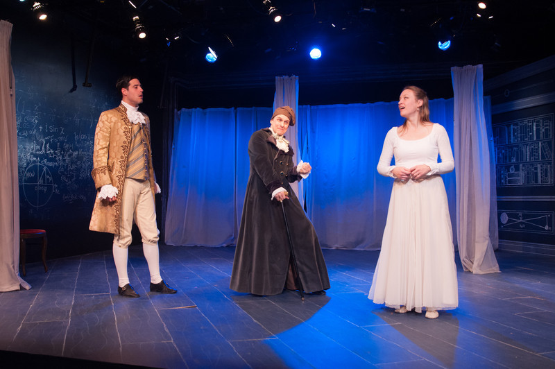 Brendan Cataldo, Oliver Wadsworth (Voltaire) and Kim Stauffer (Emilie). Photo by Enrico Spada.