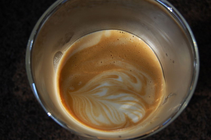 Somewhat weak attempt at latte art by yours truly! :|