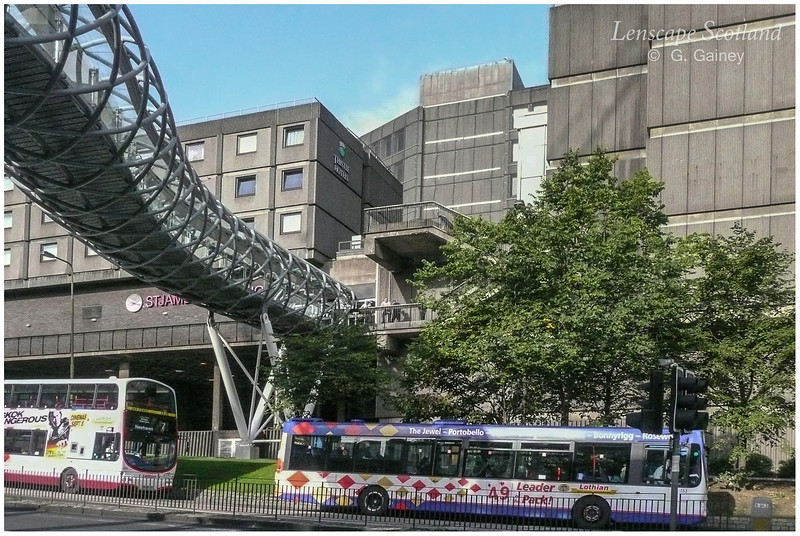 The old St. James Centre with pedestrian bridge over Leith Street (now demolished)