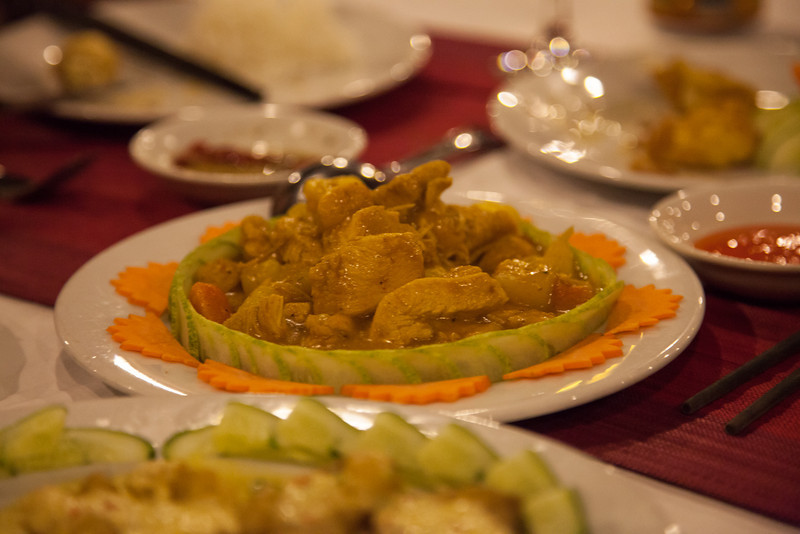 Chicken in a yellow curry (I think that's what it was).
