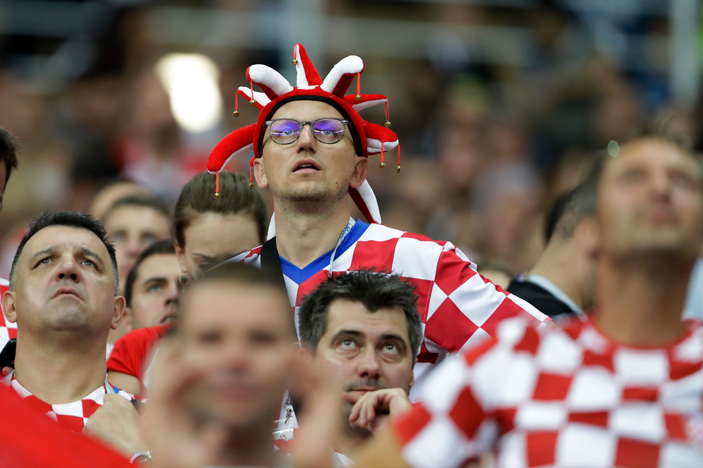 . Fans of Croatia after the final match against France at the 2018 soccer World Cup in the Luzhniki Stadium in Moscow, Russia, Sunday, July 15, 2018. (AP Photo/Natacha Pisarenko)