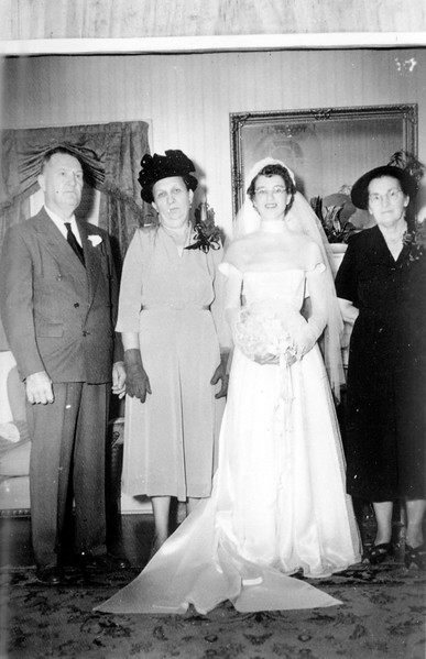 Walter 'Rip' Smock and Maria Jacob Wedding September 9, 1950 From left to right; George Jacob Sr., Bertha Seiffert Jacob, Maria Jacob Smock, Agnes Polka Smock