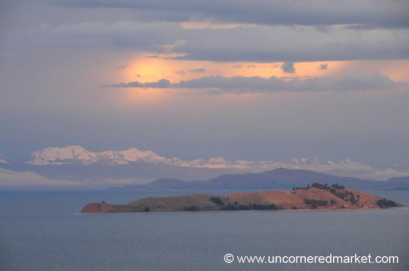 View of the Cordillera Real from the Isla del Sol - Lake Titicaca, Bolivia
