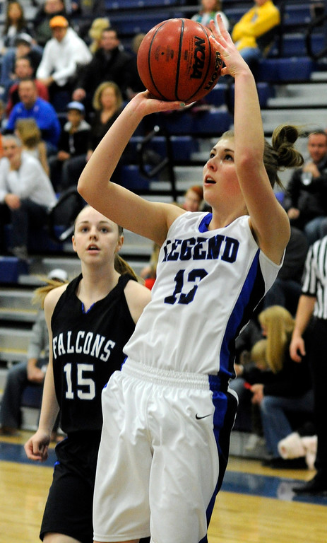 . PARKER, CO. - FEBRUARY 15: Legend guard Megan Jordan (13) took a jump shot in the first half. The Legend High School girls\'s basketball team hosted Highlands Ranch Friday night, February 15, 2013. (Photo By Karl Gehring/The Denver Post)