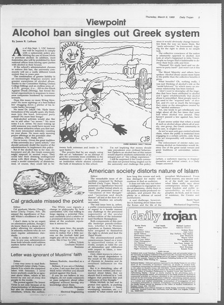 Daily Trojan, Vol. 108, No. 38, March 09, 1989