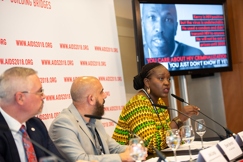 22nd International AIDS Conference (AIDS 2018) Amsterdam, Netherlands.   Copyright: Steve Forrest/Workers' Photos/ IAS  Photo shows: The Criminalization of HIV JIAS Press Conference. From Left to Right: José Zuniga, International Association of Providers of AIDS Care; Edwin Bernard HIV Justice Network; Sarai-Chisala Tempelhoff, Women Lawyers Association, Malawi.