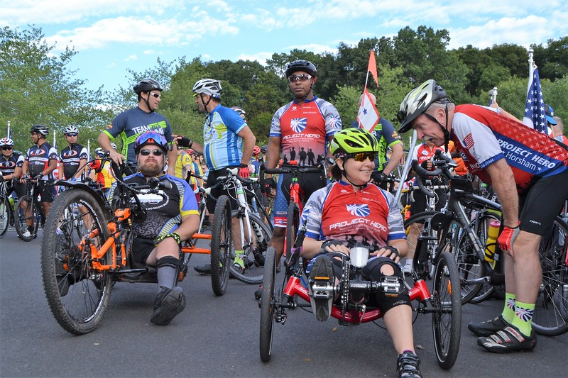 Cyclists attend Project Hero's Honor Ride Philadelphia. Project Hero, a 501(c)3 non-profit organization, is dedicated to helping veterans and first responders affected by PTSD, TBI, illness, and injury achieve rehabilitation, recovery and resilience in their daily lives. Photo by Andria Allmond
