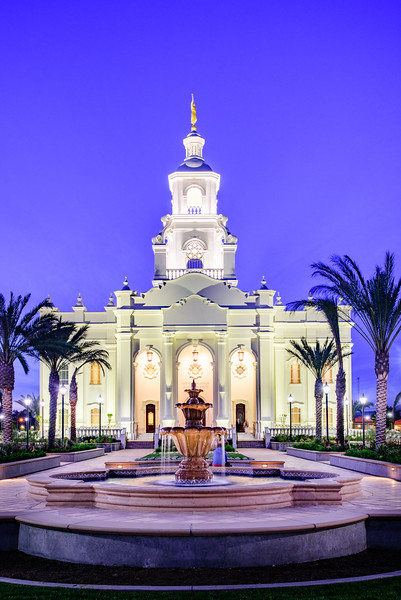 Tijuana Temple - Fountains in Blue