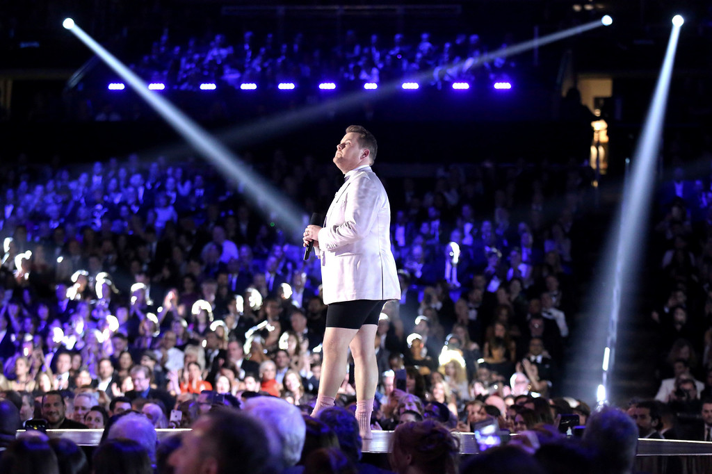 . Host James Corden appears without pants at the 59th annual Grammy Awards on Sunday, Feb. 12, 2017, in Los Angeles. (Photo by Matt Sayles/Invision/AP)